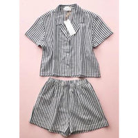 CROPPED BUTTON HIGH-WAISTED STRIPED SHORTIES