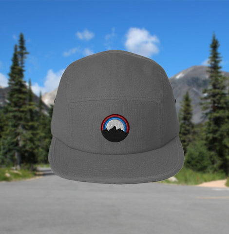 5-panel camping hat - embroidered mountain - gray
