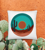 Desert Cactus - Throw Pillow- 18x18 (White)