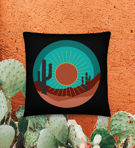 Desert Cactus - Throw Pillow - 18x18 (Turquoise/Black)