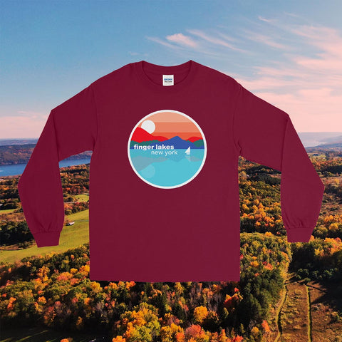 Finger Lakes Long Sleeve T-Shirt - 100% Cotton & Unisex (Maroon, White & Indigo)