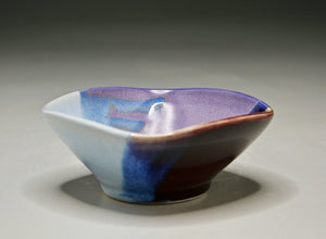 "Small Altered Bowl in Red-Blue-Purple Glazes, 6.25""dia. (Bryan Pulliam)"