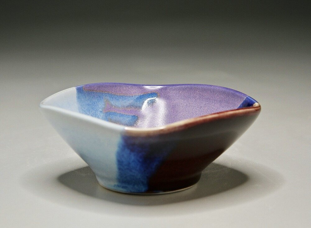 Small Altered Bowl in Red-Blue-Purple Glazes, 6.25