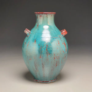 "Handled Han Vase in Chinese Blue, 11.75""h"
