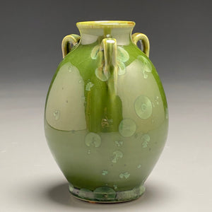"Edo Jar in Lily Pad Green Crystalline, 6""h"