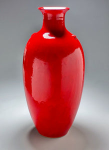 "Dogwood Vase in Chinese Red, 28""h"