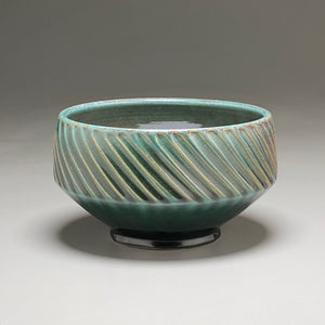 "Carved Serving Bowl in Patina Green, 8.5""dia."