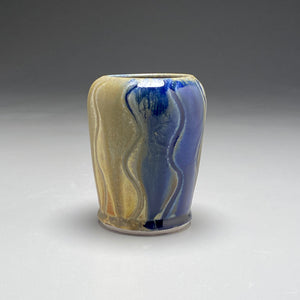"Vase with Carved Lines in Ash, Yellow Matte, and Cobalt, 5.25""h (Bryan Pulliam)"