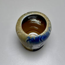 "Load image into Gallery viewer, Vase with Carved Lines in Ash, Yellow Matte, and Cobalt, 5.25""h"