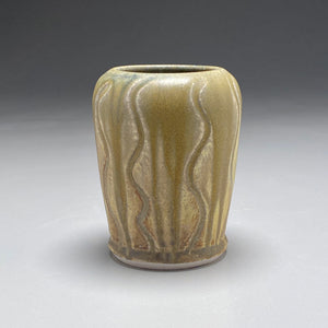 "Vase with Carved Lines in Ash, Yellow Matte, and Cobalt, 5.25""h"