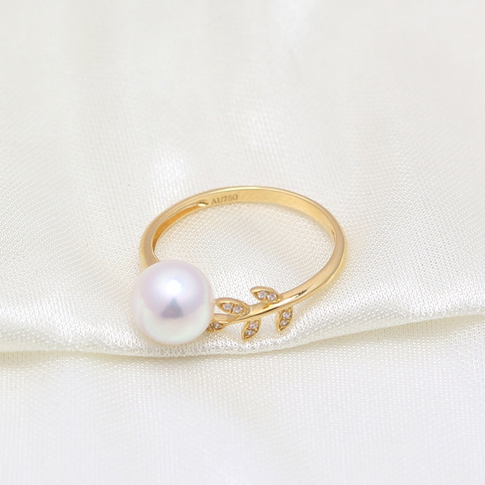 Golden Leaves Pearl Ring