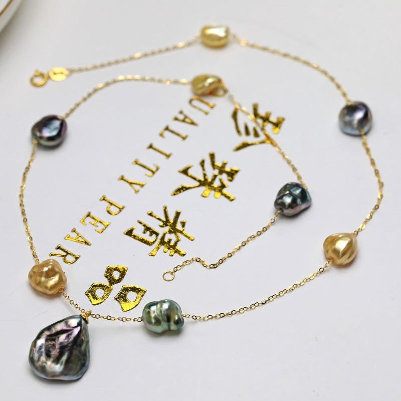 Keshi Pearl Charm Chain Necklace