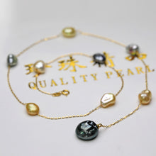 Load image into Gallery viewer, Keshi Pearl Charm Chain Necklace