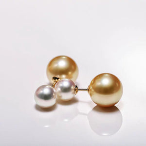 White & Golden Double Pearl Earrings