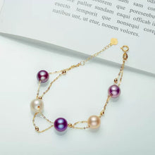 Load image into Gallery viewer, Gold Pearl Necklace & Bracelet Chain Set