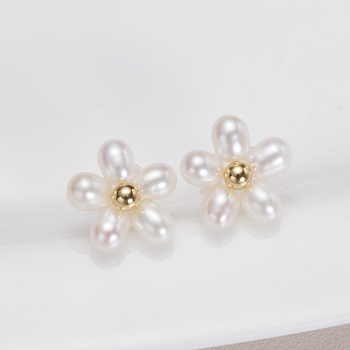 Oval Pearl Flower Earrings