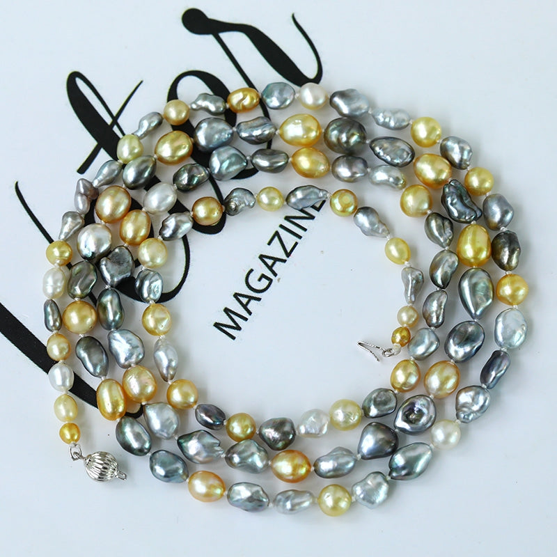 Golden & Grey Keshi Long Pearl Necklace