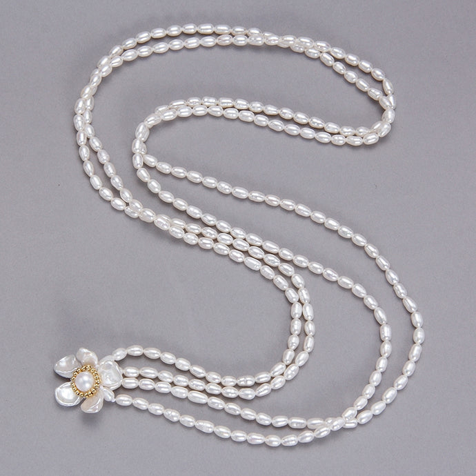 2 Way Wear Flower Pearl Necklace