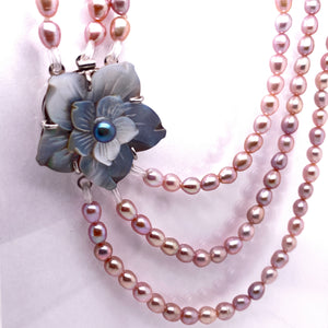 Triple Strand Cultured Pearl with Mother-of-Pearl Rose Necklace