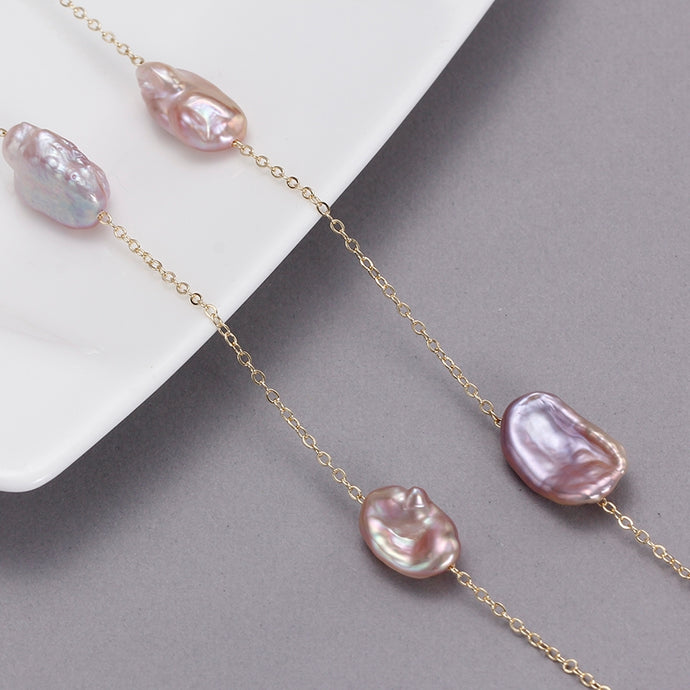 Purple Pearl Chain Necklace