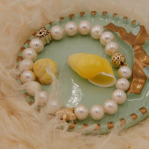Pearl Bracelet with 925 Sterling Silver Charms
