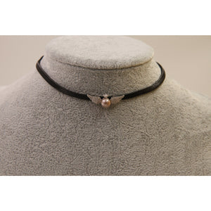 Pearl Wing Leather Choker