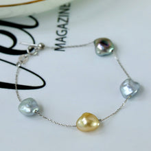 Load image into Gallery viewer, Mixed Keshi Pearl Chain Bracelet