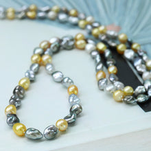 Load image into Gallery viewer, Golden & Grey Keshi Long Pearl Necklace