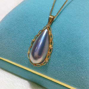 Tear Drop Blue Mabe Pearl Charm