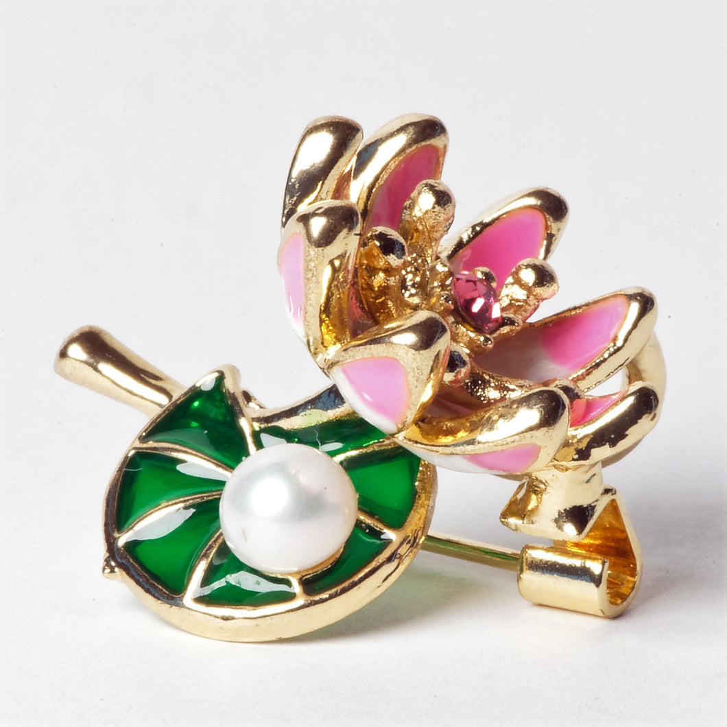 Lotus Flower Cultured Pearl Brooch