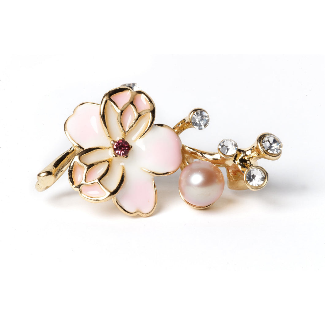 Plum Blossom Cultured Pearl Brooch