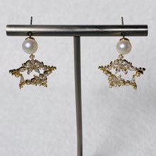 Load image into Gallery viewer, Flowers on Star Pearl Earrings