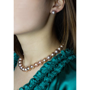 Bronze Pearl Stud Earrings & Necklace Set