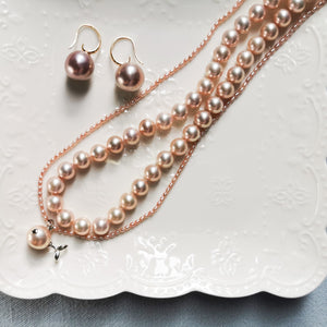Salmon Pink Necklace & Earring Set