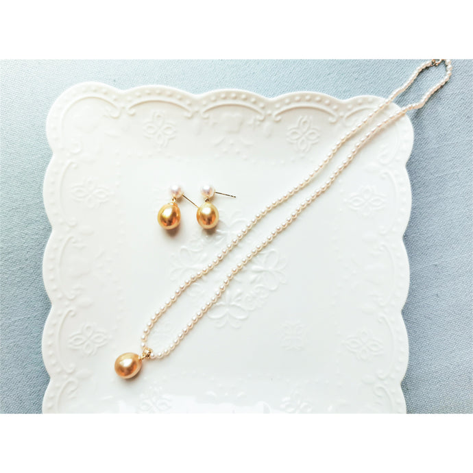 Akoya & Golden Tear-drops Pearl Earrings