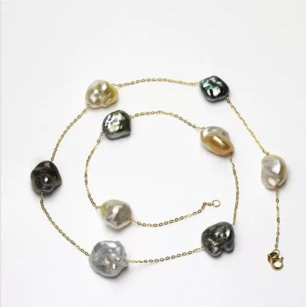 Golden & Black Keshi Pearl Chain Necklace
