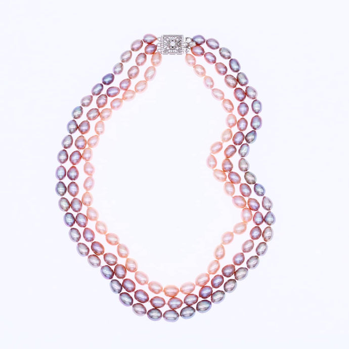 Purple to Golden Pearl Necklace