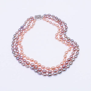 Triple Strand Candy GradualChange Color Pearl Necklace (ののののののの)