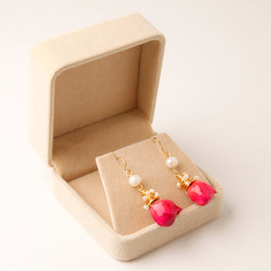 Pearls & Real Rose Earrings