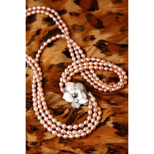 Load image into Gallery viewer, Triple Strand Cultured Pearl with Mother-of-Pearl Rose Necklace