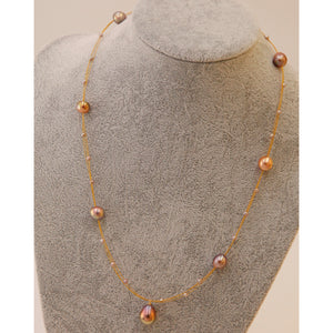 Rose Golden Baroque Pearl Necklace
