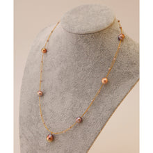 Load image into Gallery viewer, Rose Golden Baroque Pearl Necklace