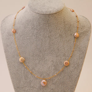 Coin Shape Baroque Pearl Necklace