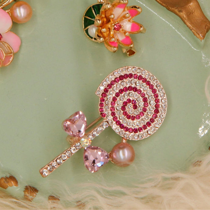 Broche Lollipop mousseux perle
