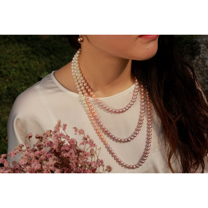 Triple Strand Candy Gradual Change Color Pearl Necklace