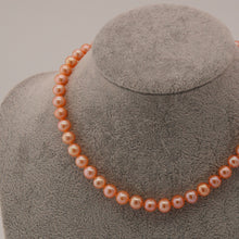 Load image into Gallery viewer, Classic Pearl Necklace and Bracelet Set- Golden Orange