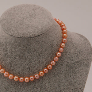 Classic Pearl Necklace and Bracelet Set- Golden Orange