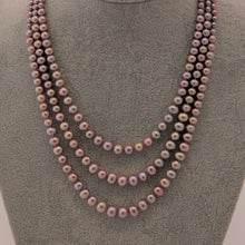 Load image into Gallery viewer, Metallic Purple Triple-Strand Pearl Necklace