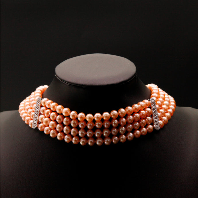 Red orange four Pearl colliers