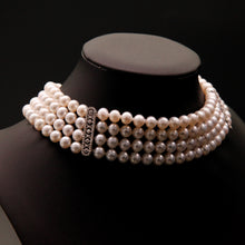 Load image into Gallery viewer, 4-Strand Choker Pearl Necklace